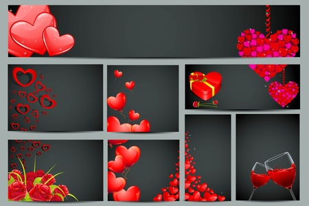illustration of set of valentine card in different layout Vector