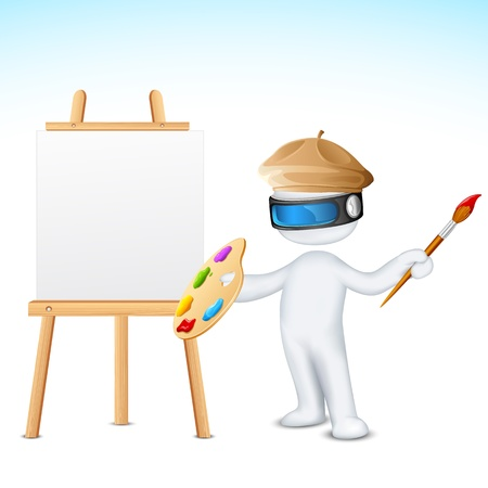 illustration of 3d man in vector fully scalable with paint brush and easel Vector
