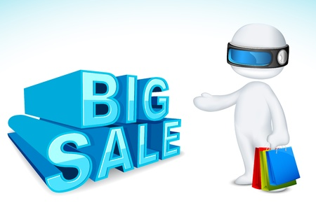 illustration of 3d man in vector fully scalable with shopping bag showing sale Vector