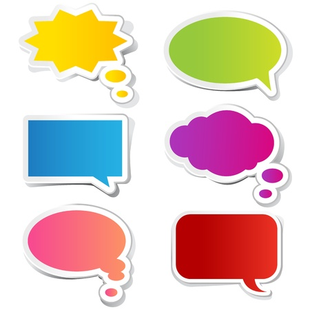 illustration of chat bubble in paper sticker style Vector