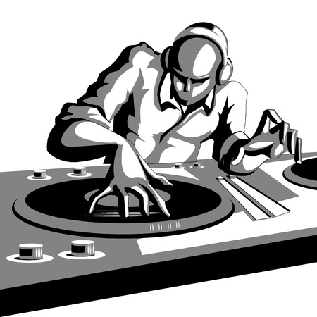 turntables: illustration of disco jockey playing music in discotheque Illustration