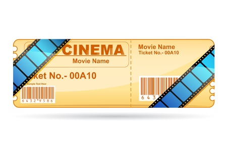 cinema ticket: illustration of movie ticket wrapped with film reel strip