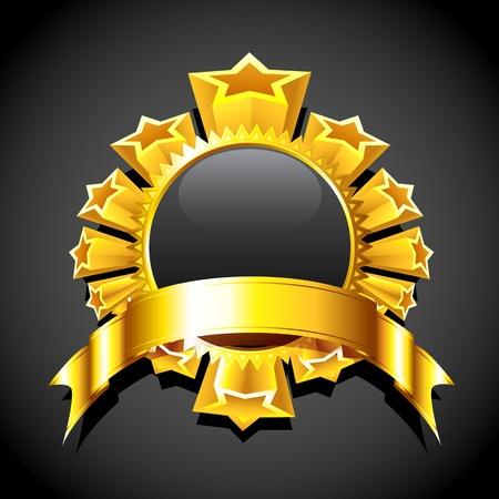 illustration of golden star around circular copy space Stock Vector - 12038836