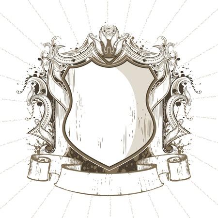 medallion: illustration of ornate heraldic shield in retro style