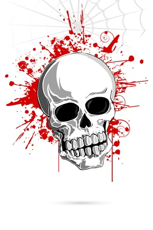 demonic: illustration of skull on grungy abstract background Illustration