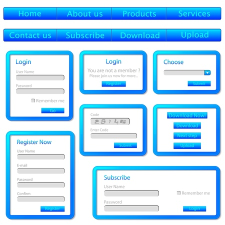 illustration of set of web templates with login,registration and sign up forms Vector