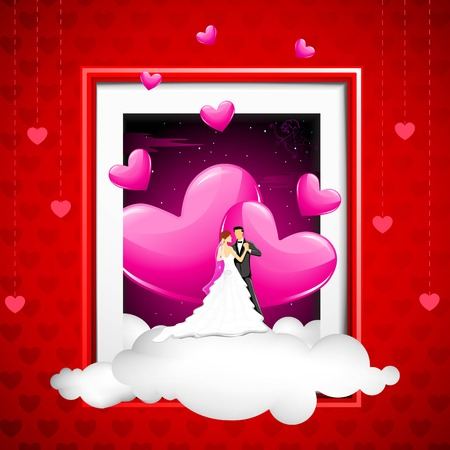 illustration of couple on cloud coming out of phot frame Vector
