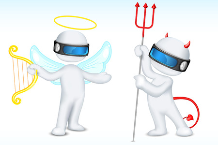 good or bad: illustration of 3d angel and devil in fully scalable.. Illustration
