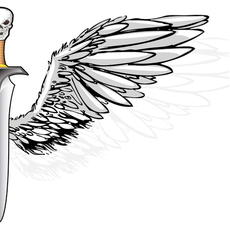 illustration of skull on sword handle with wing illustration