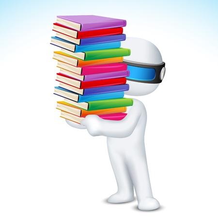 schaalbaar: illustratie van 3d man in vector volledig schaalbaar met een stapel boeken Stock Illustratie