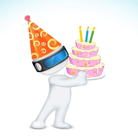 illustration of 3d man in vector fully scalable holding birthday cake Vector