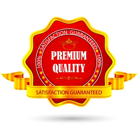 satisfaction guarantee: illustration of badge for premium quality with ribbon
