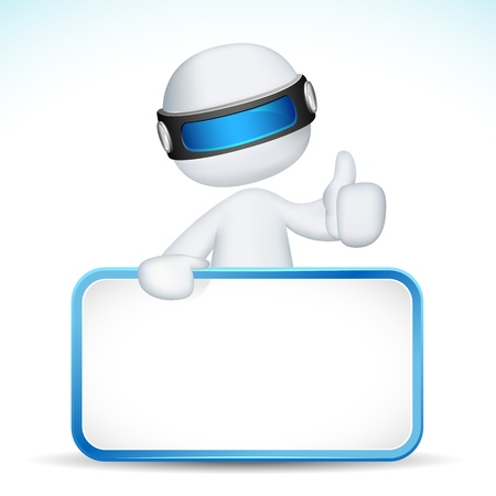 evaluate: illustration of 3d man holding placard in vector fully scalable