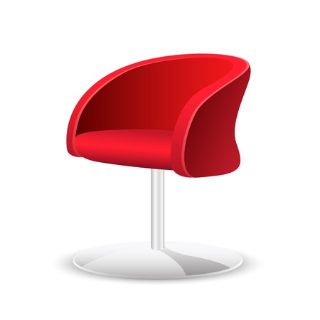 office furniture: illustration of comfortable trendy chair on white background