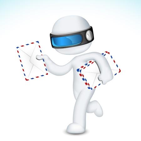 mail man: Ilustraci�n de 3d hombre totalmente escalable deliverying sobre postal Vectores