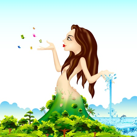 waterfall river: illustration of lady representing mother nature with natural scene Illustration