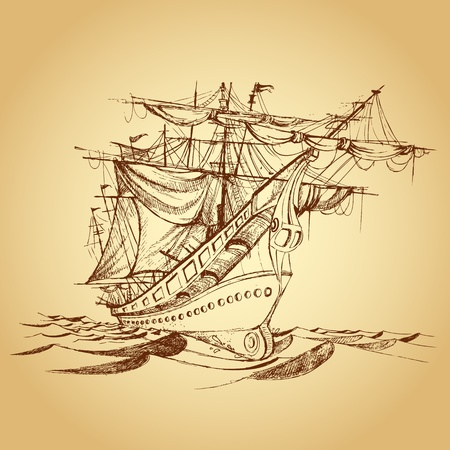 sailing ships: illustration of drawing of historical ship on paper