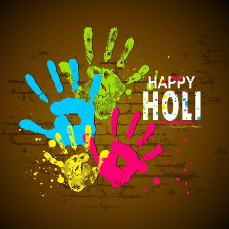 illustration of holi wallpaper with coorful hand prints Stock Vector - 12038876