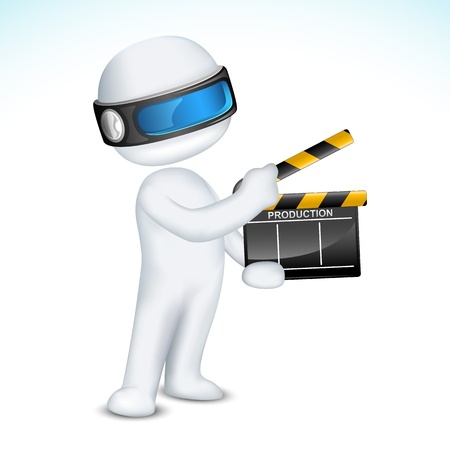 illustration of 3d man in fully scalable with clapper board Vector