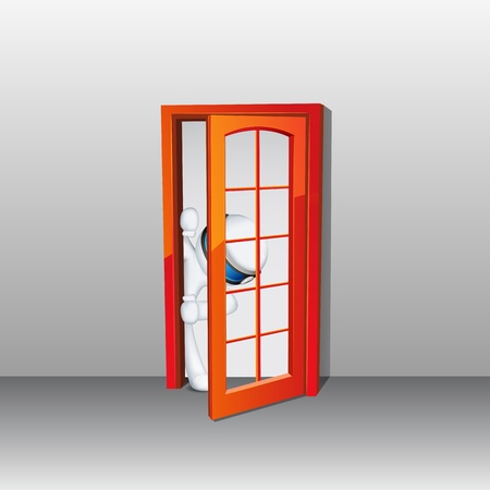 peeping: 3d ilustraci�n del hombre en totalmente escalable asomando por la puerta