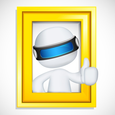 illustration of 3d man fully scalable showing ok sign from photo frame Vector