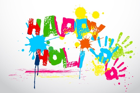 fun festival: illustration of holi wallpaper with coorful hand prints