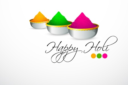 colorful holi: illustration of bowl full of colorful gulal for holi background