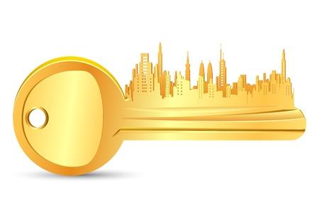 maison de maitre: illustration de cl� d'or de l'immobilier sur fond blanc Illustration