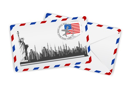 illustration of statue of liberty on envelope with american stamp Stock Illustration - 12038868