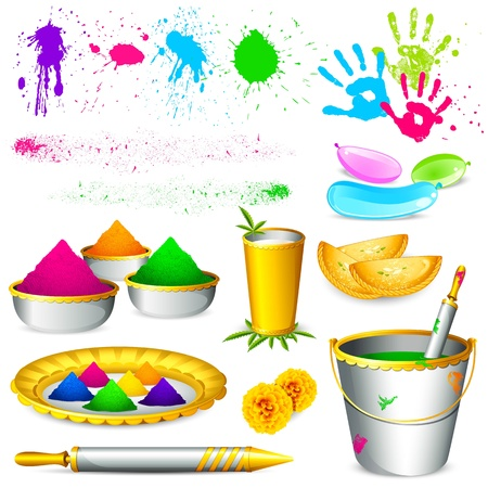 thali: illustration of set of holi element with colors on white background Illustration