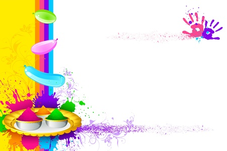 thali: illustration of holi thali with colorful gulal for holi background