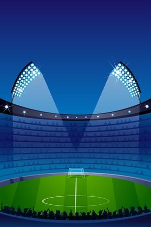 illustratie van stadion met schijnwerper en publiek Vector Illustratie