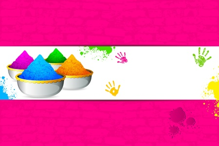 illustration of bowl full of colorful gulal for holi background illustration