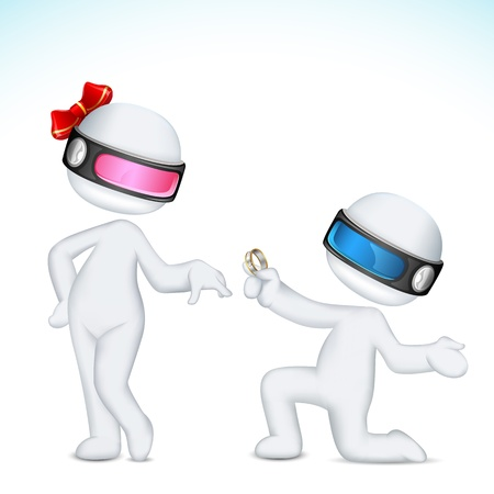 illustration of 3d man in vector fully scalable proposing lady Vector