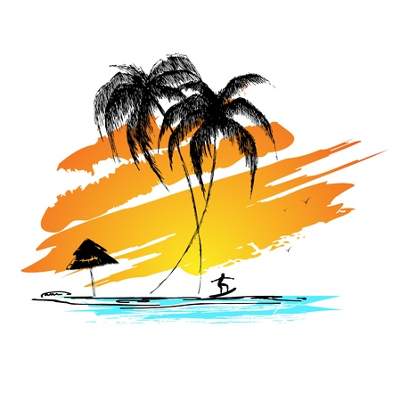 illustratie van zonsondergang uitzicht op zee strand met surfer