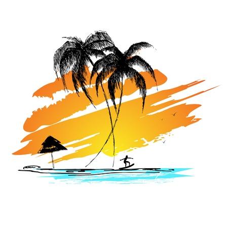 destinos: ilustraci�n de la puesta de sol vista de la playa del mar con la persona que practica surf