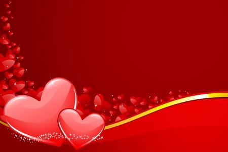 Ilustraci�n de un par de coraz�n en el fondo el amor