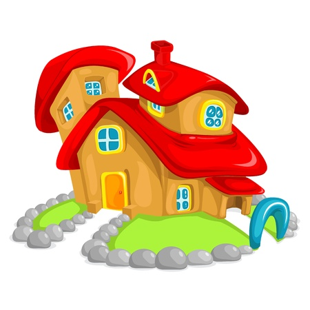 bubbly: illustration of bubbly clay house on grass