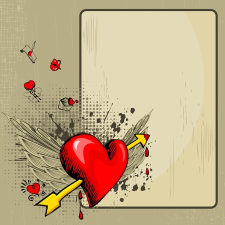 marriage invitation: illustration of heart with wings on abstract retro love background