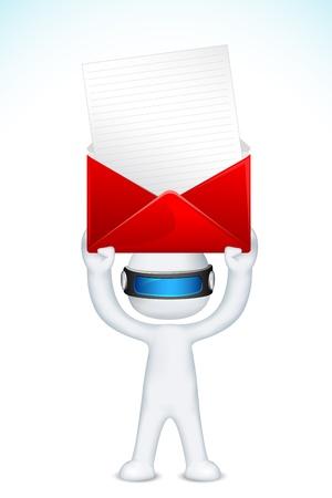 schaalbaar: llustration van 3D man in vector volledig schaalbaar deliverying post envelop