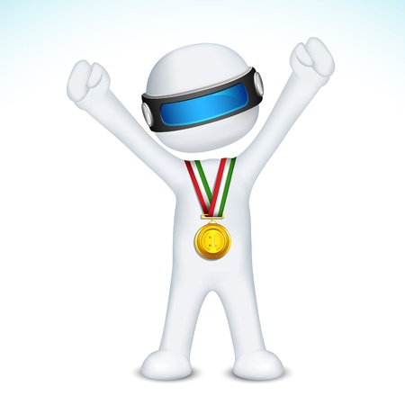 successful student: illustration of 3d man in vector fully scalable with gold medal Illustration