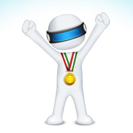 successful student: illustrazione di uomo 3d nel vettore completamente scalabile con medaglia d'oro