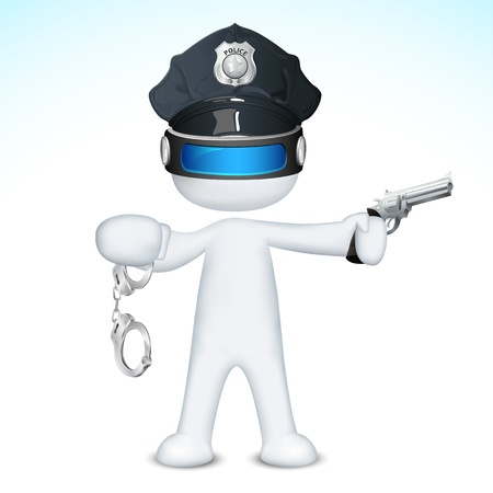 illustration of 3d police man in vector fully scalable holding pistol Vector
