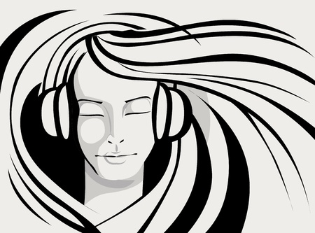 illustration of lady enjoying music in line art style Vector