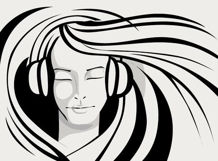 portrait young girl studio: illustration of lady enjoying music in line art style