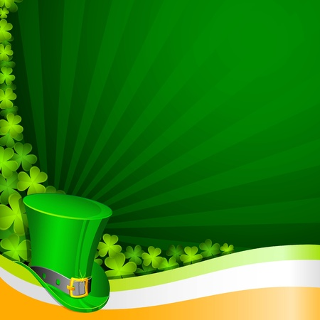 clovers: illustration of hat on Saint Patrick background