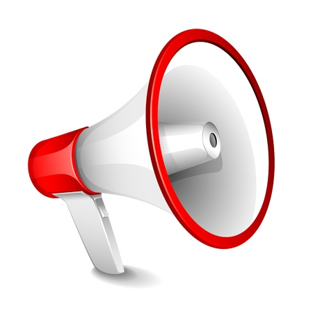 loudspeaker: illustration of megaphone on plain white background