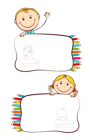 preschool classroom: illustration of kids with crayon in school label sticker Illustration