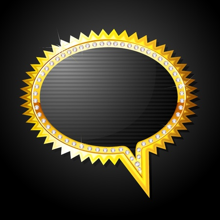 speech icon: illustration of golden speech bubble on black background Illustration