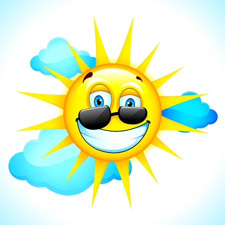 illustration of summer sun smiling beyond clouds Vector